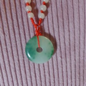 Jade donut necklace Jadeite Necklace, Green Jade N